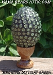 "MBA #5604-002  ""Light Green Glass Bead Mosaic Egg With Stand"""
