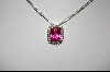 Charles Winston Cushion Cut Created Pink Sapphire & Clear CZ Pendant With Matching Ring
