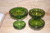 "MBA #13-158   ""Set Of 4 Bottle Green Spice Bowls"""