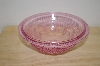 "MBA #13-014   ""Small Pink Floral & Hobnail Embossed Serving Bowl"