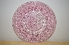 "MBA #13-037A  ""Set Of 2 Pink Glass Floral & Hobnail Embossed Desert Plates"
