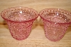 "MBA #13-154     ""Set Of 2 Pink Glass Floral & Hobnail Embossed Votive Candle Holders"