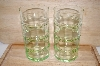 "MBA #13-193   ""Set Of 4 Pale Antique Green Tall Water Glasses"