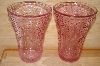 "MBA #13-046A    ""Set Of 2 Pink Glass Floral & Hobnail Embosed Water Glasses"