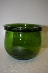"MBA #13-143B    ""Set Of 2 Small Bottle Green Glass Topped Canisters"