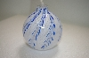 "MBA #14-183  ""Blue & White Hand Blown Glass Oil Lamp"""