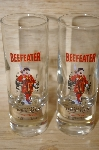 "**Set Of 2 ""BEEFEATER"" London Gin Tall Shot Glasses"