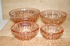 "MBA #15-056    ""Set Of 4 Pink Glass Hobnail Embossed Spice Bowls"