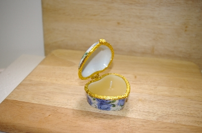 Heart Shaped Blue Rose Porcelain Trinket Box