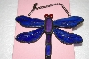 Blue & Purple Stained Glass Hanging Dragonfly