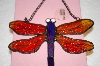 Red & Purple Stain Glass Hanging Dragonfly