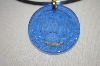 Tagliamonte  Venetian Hand Carved Blue Glass Large Pendant