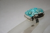 **MBA #16-153  Hard Carved Blue Turquoise Lizzard Sterling Ring