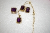 Pendant, Ring & Amethyst Square Cut Earrings