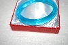 **MBA #17-223  Hand Cut & Made Turquoise Colored Glass Bangle Bracelet