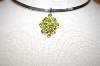 "MBA #17-142  ""14K Yellow Gold 9 Stone Peridot Pendant With Accent Diamonds"
