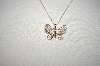 "MBA #18-123  ""14K Yellow Gold Pave  Diamond Butterfly Pendant"