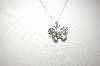 14K White Gold Over Silver Gemstone Butterfly Pendant With Chain