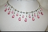Charles Winston Pink Briolette Cut & Clear Cz Necklace