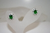 "**MBA #18-390  Designer ""RP"" Green & Clear Square Cut CZ Earrings"