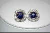Charles Winston Square Cut Blue & Clear Cz Pierced Earrings