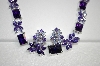 **MBA #18-227  Beautiful Purple & Lavender CZ Necklace & Earring Set