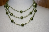 **MBA #19-281  Majestic Two Tone Green 3 Row Simulated Pearl Necklace W/ Matching Earrings