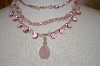 **MBA #19-236  Mystique New York Pink Gemstone & Acrylic 3 Row Necklace