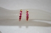 14K Over Silver Created Ruby Small Hoops
