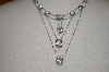 **MBA 19-072  Suzanne Sommers Multi Layered Clear CZ Sterling Necklace