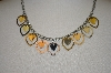 **MBA #19-232  Stainless Steel Tri-Color Heart Dangle Necklace