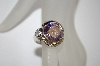 **MBA #19-542  Silver Plated Round Cut Lavender & Clear CZ Ring