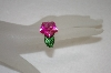 Charles Winston Created Pink Sapphire Carved Flower Ring