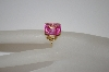 **MBA #19-048  Fancy Setting 14K Plated Pink CZ Ring