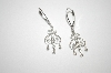 10K White Gold Diamond Scroll Earrings