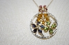 "14K Multi Gem & Diamond Pin Pendant With 18"" Chain"