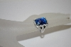 Charles Winston Blue Cushion Cut CZ Ring