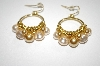 **MBA #19-301  Majestic Gold & Cream Colored Simulated Pearl Earrings