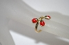 14K Yellow Gold Red Enameled Lady Bug Ring