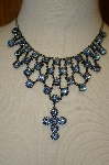 "**MBA #20-652  ""Harianna Blue Austrian Crystal Cross Necklace"