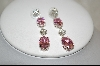 Charles Winston Oval Cut Pink & Clear Cz Pierced Earrings