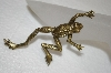 **MBA #20-297  Large Gold Toned Climbing Frog Pin