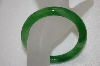 **MBA #20-092  Another Dark Green Mixed Glass Bangle Bracelet