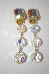 **MBA #20-188  Les Bernard Large Crystal AB Clip On Earrings