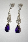 **MBA #20-198 Nolan Miller Drop Purple & Clear Crystal Earrings