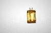 "14K Large Square Cut Citrine Pendant With 18"" Chain"