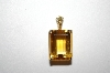 14 Square Cut Citrine & Champagne Diamond Pendant