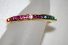 **MBA #20-201  Gold Plated Colors Of Crystal Bangle Bracelet