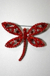 """ SOLD""   MBA #20-114  Imagine Designs Red Crystal Dragonfly Pin"