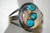 **MBA #20-511  Artist Signed Bear Claw & Blue Turquoise Sterling Cuff Bracelet